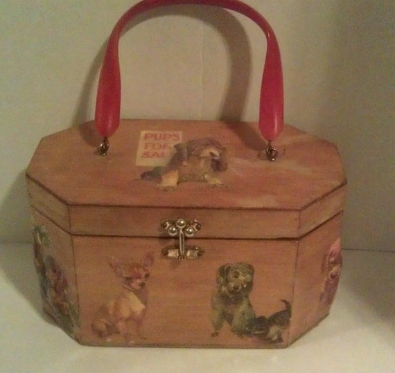 SALE:  Vintage Annie Laurie Wood Purse with Dogs
