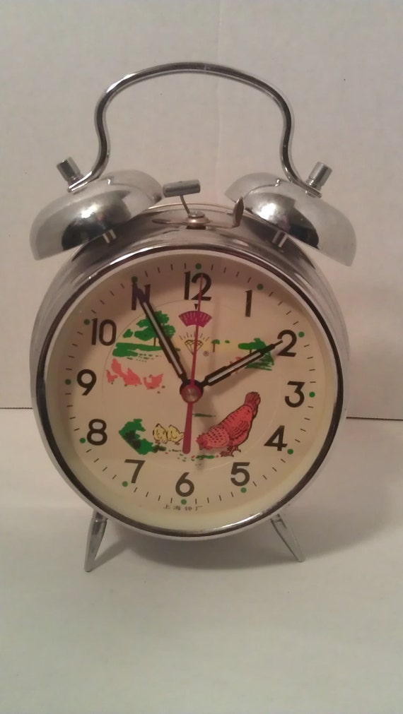 Vintage Diamond Brand Wind Alarm Clock Chickens