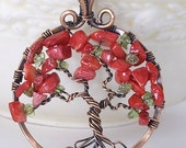 Royal Poinciana Tree of Life Antiqued Copper Wire Necklace, Tarnish Resistant with Everbrite ProtectaClear