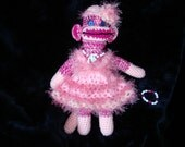 All Pinks Crochet Sock Monkey with Matching Girl's Bracelet