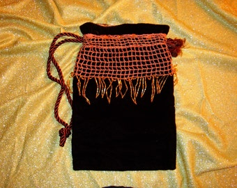 Velvet Beaded Crochet Purse