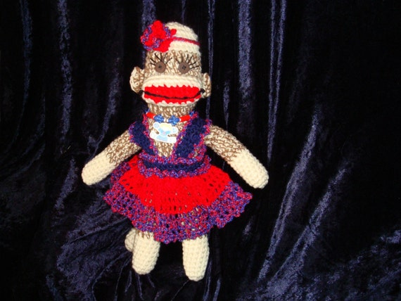 Sock Monkey Dress, Pouf Headband and Necklace
