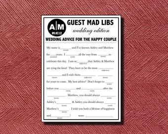 Wedding Guest Book Alternative, Wedding Mad Libs, Wedding Ad Libs, Printable Wedding Mad Libs, Bridal Shower Game, Rehearsal Dinner Mad Libs
