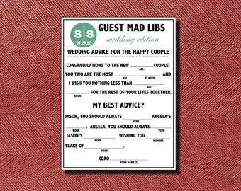 Unique Wedding Guest Book  Wedding Guest Mad Libs