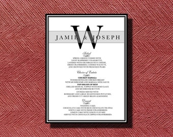 Wedding Reception Dinner Menu, Printable Wedding Dinner Menu