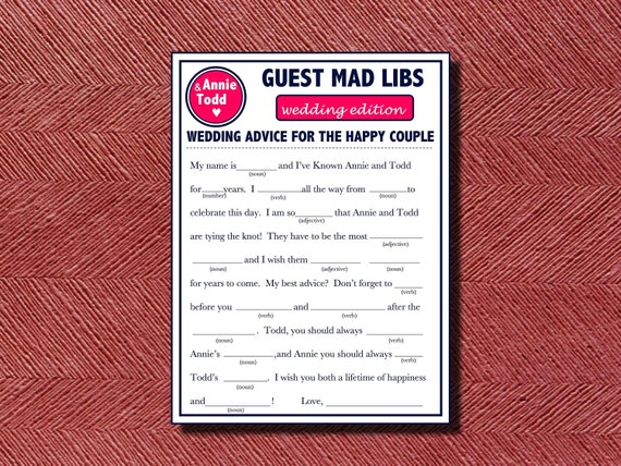 Modern Wedding Guest Book Wedding Mad Libs A Fun Guest Book Alternative