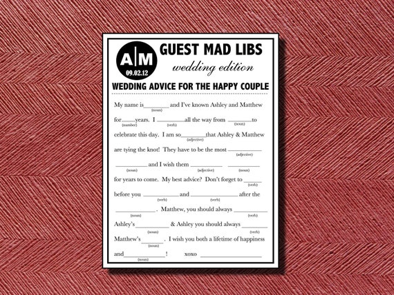 Wedding Guest Book Alternative Wedding Mad Libs