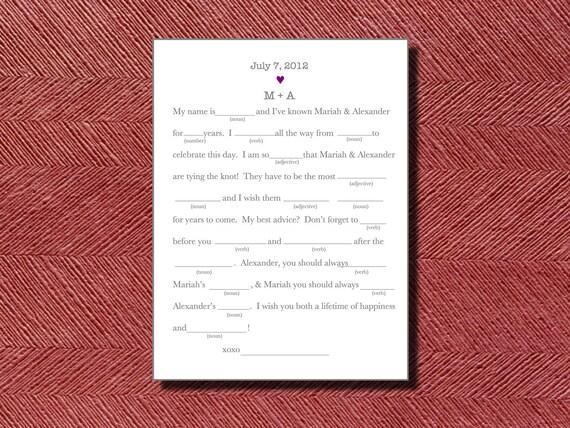 Modern Wedding Guest Book Wedding Day Mad Libs