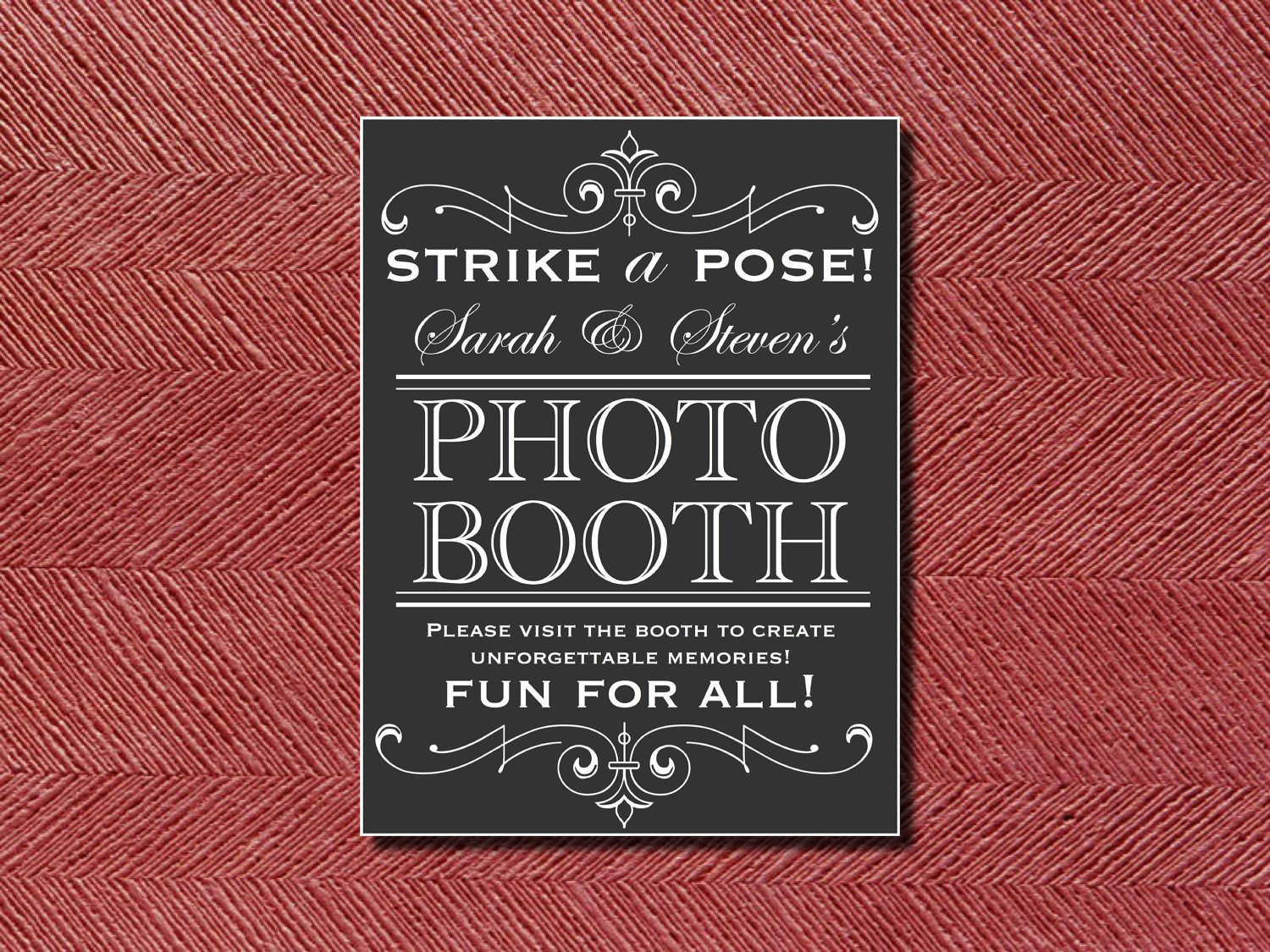 Custom Designed Wedding Reception Photo Booth Sign Or Poster