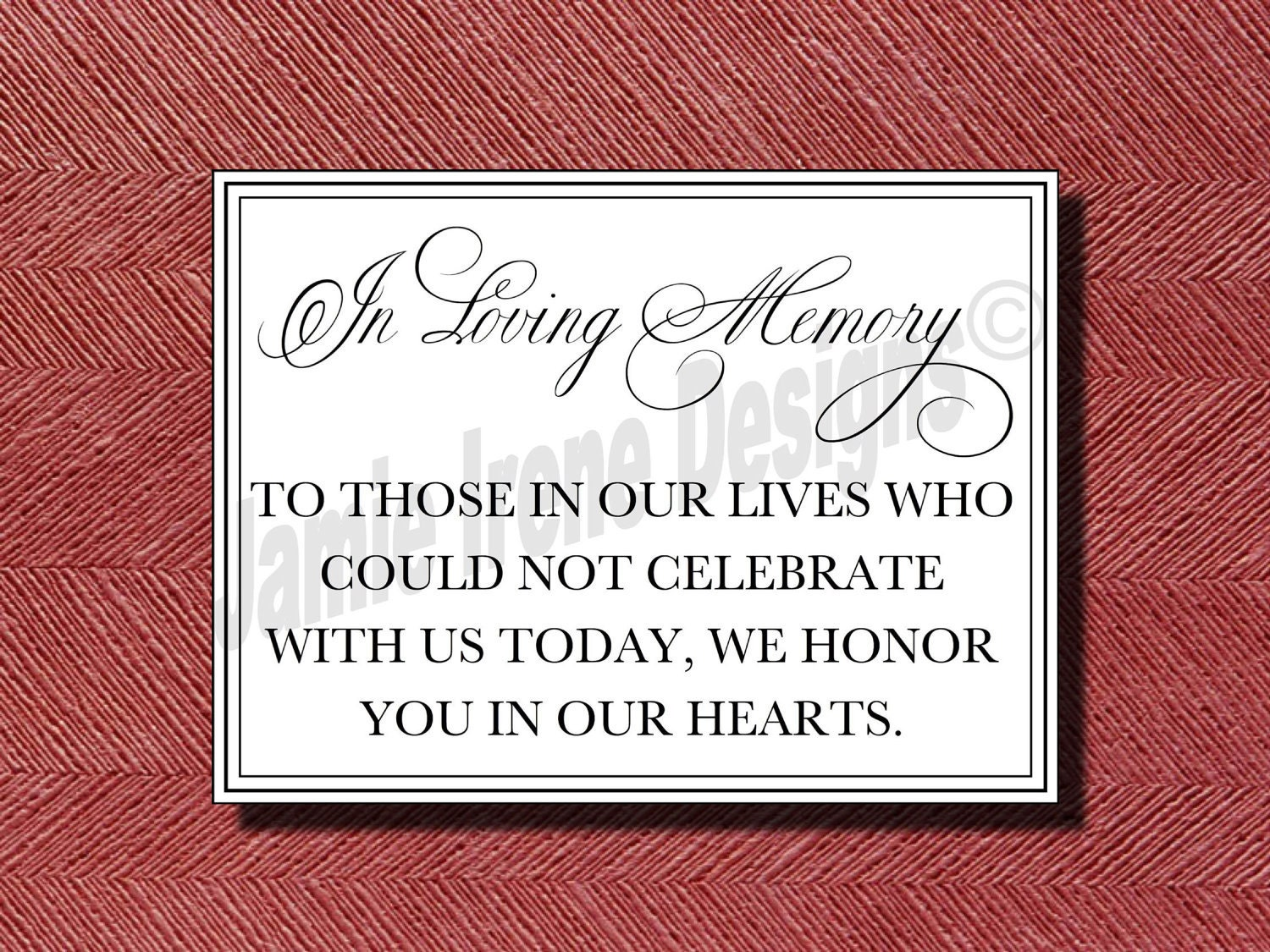 Wedding Reception Signage In Loving Memory Sign
