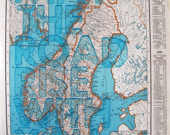 Norway and Sweden / May The Road Rise With You/ Letterpress on Antique Atlas Page