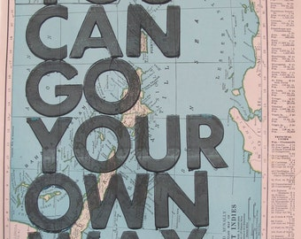 West Indies / You Can Go Your Own Way/ Letterpress Print on Antique Atlas Page