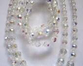 Vintage Aurora Borealis Glass Necklace and Bracelet Set