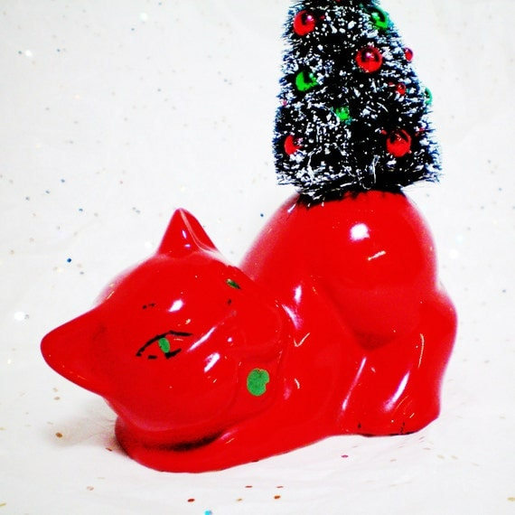 Cat Planter Vintage, Red, Upcycled, Christmas Tree