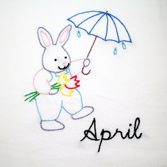 April Showers Dish Towel  - Hand Embroidered