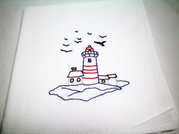 The Light House, Kitchen Dish Towel, hand embroidery, coastal decor