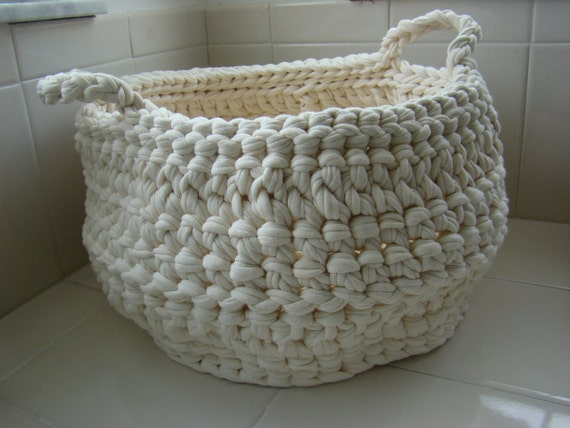 Items similar to Recycled tee shirt yarn crochet basket on ...