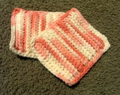 Facial Sponges - Hand Crocheted - Variegated Pink