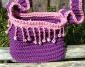 Beaded Fringe Cross-Body Bag - Hand Crocheted - Purple and Pink