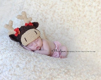 Big hearted moose ready for some moose moss Newborn hat with removable bow and cute button eyes 0-3month