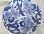 ON RESERVE for lexitallisman. Vintage Blue Porcelain Plate, Blue Orchid, Scalloped Edge High Gloss Finish