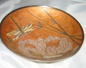 Vintage Inlaid Brass Bowl. Pedestal Base. Decorative. Rust Grey Colors