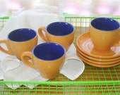 Vintage Cups & Saucers, Set of 4 Demitasse, Blue Orange Apricot Color Combination - fineoldthings
