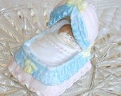 Vintage Sleeping Baby Figurine Fancy Baby Bed Baby Bassinet Newborn Gift Baby Shower Cake Topper Porcelain