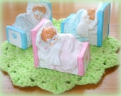 Vintage Little Boy Little Girl Figurines Asleep in Their Beds Your Choice 7.50 each Porcelain Pink and Blue