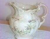 Antique Creamer.  Small Pitcher.  Semi Vitreous China. J & E Mayer Pottery.  True Collector's Piece