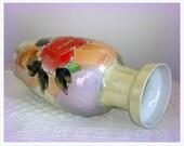 Lusterware Waterfall Vase Vintage Watercolor Effect Hand Painted Porcelain.  Large in Size