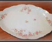 Vintage Serving Platter Old European New Habsburg, Austrian Porcelain Ware Oval Shape Pink Flowers