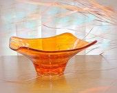 Vintage Orange Glass Bowl. Glass Dish. Free Form Design. Decorative