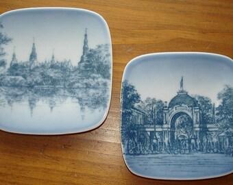 Mini Plate Wall Hangings. Vintage. Royal Copenhagen. Bing Grondah. Tivoli and Frederiksborg Slot