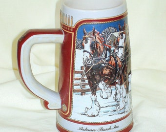 "Beer Stein Budweiser 1989 Vintage Anheuser Busch's ""Clydesdales in Winter"" Scene Surrounds the Stein  Made by Ceramarte Brazil"