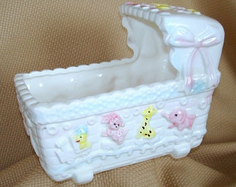 Baby Cradle Planter Or Vase Vintage Replo Brand Large White Ceramic with Flowers Ribbons & Baby Animal Designs Baby Shower Newborn Gift
