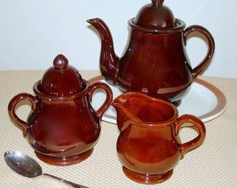 Coffee Tea 5 Piece Set Vintage  ON SALE Large Lidded Pot Lidded Sugar Bowl Creamer Brown Ceramic Americana Design