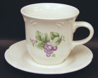 9 Pfaltzgraff Cups Saucers Grapevine Pattern Nine Sets or Pairs Price Shown per Cup/Saucer Kitchen Ware Drink Beverage