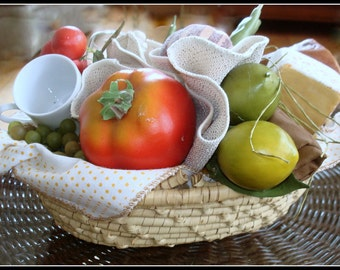 Vegetable & Fruit Centerpiece Handmade Handcrafted Lined Woven Basket Tomato Green Beans Lime Bread Cheese Wine Glass