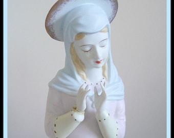 Vintage Madonna Figurine. Lefton. Expressive Hands Full Halo Porcelain Pastel Colors.  Delicateb