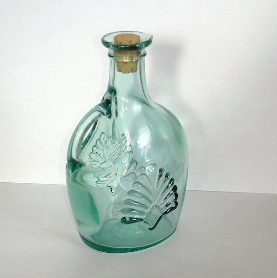 Vintage Green Glass Bottle Open Handle Canada