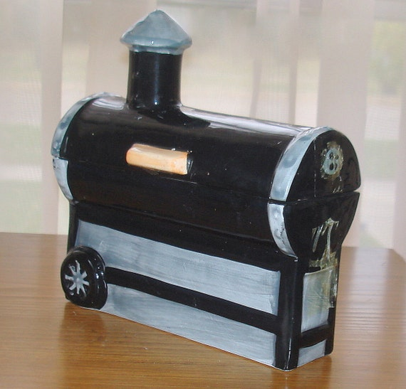Vintage 'Outdoor Grill' Box. Replica.  Black Ceramic. Covered, Self Lid