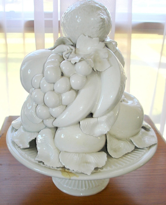 Vintage Ceramic Fruit Centerpiece White Made In By