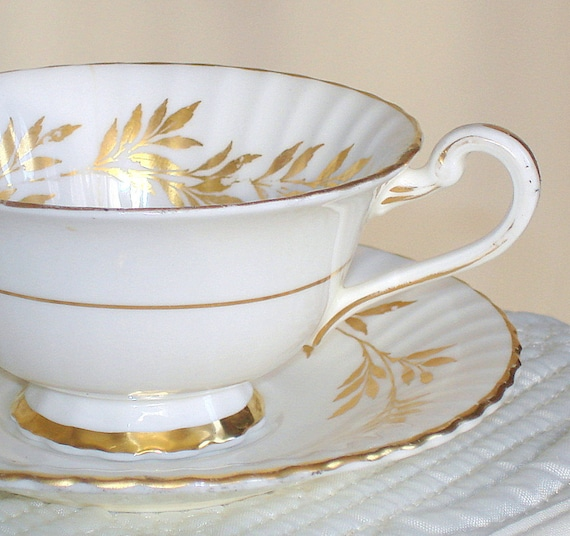 Vintage Paragon Bone China Teacup & Saucer. Elgin Pattern. White with Gold Leaves