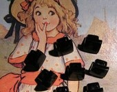 Vintage Square buttons for craft ..  black