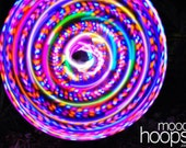LED hula hoop - Blaze 36in. OR 33in. - pink-yellow-blue & fast-blend rainbow LEDs, by Moodhoops