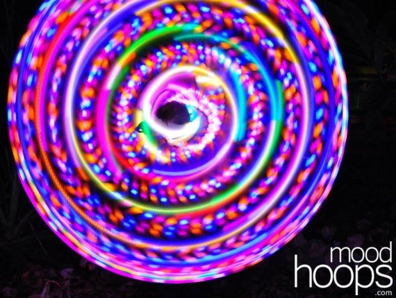 LED hula hoop - Blaze - pink-yellow-blue & fast-blend rainbow LEDs - 38in. / 36in. / 33in., by Moodhoops
