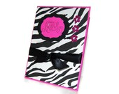 Stamped BIRTHDAY Card - Hot PINK and ZEBRA - Card for Her - Handmade Card - Sparkly Card with Bling