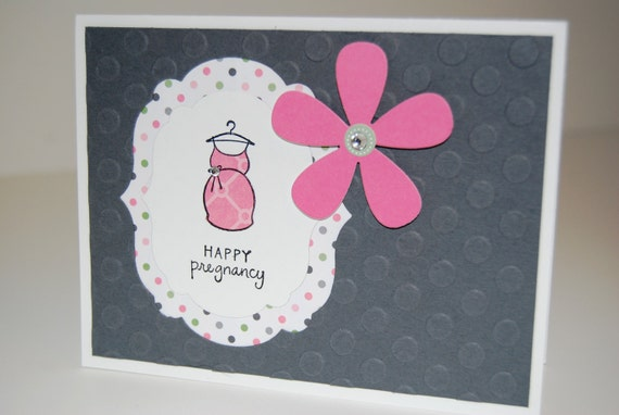 Mommy To Be Stamped Card - Pregnancy Congratulations Card Baby Bump Embossed Polka Dots Pink and Gray with Rhinestones