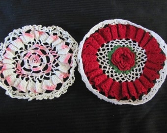 """Pair of Great Handmade Vintage Doilies - Red and Pink 8"""""""
